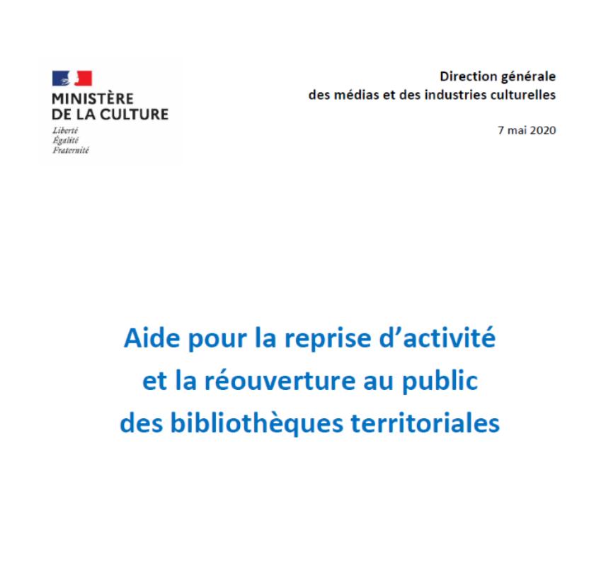Aide pour la reprise d'activité et la réouverture au public des bibliothèques territoriales