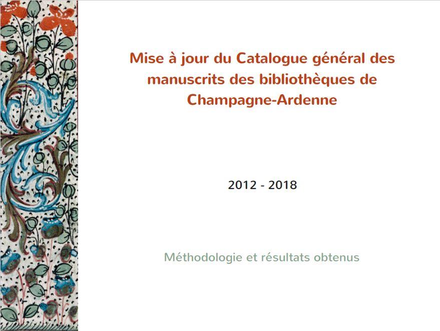 Restitution de la mise à jour du programme de mise à jour du Catalogue général des manuscrits