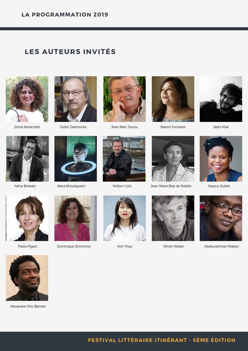 Festival 2019 : Les auteurs invités !