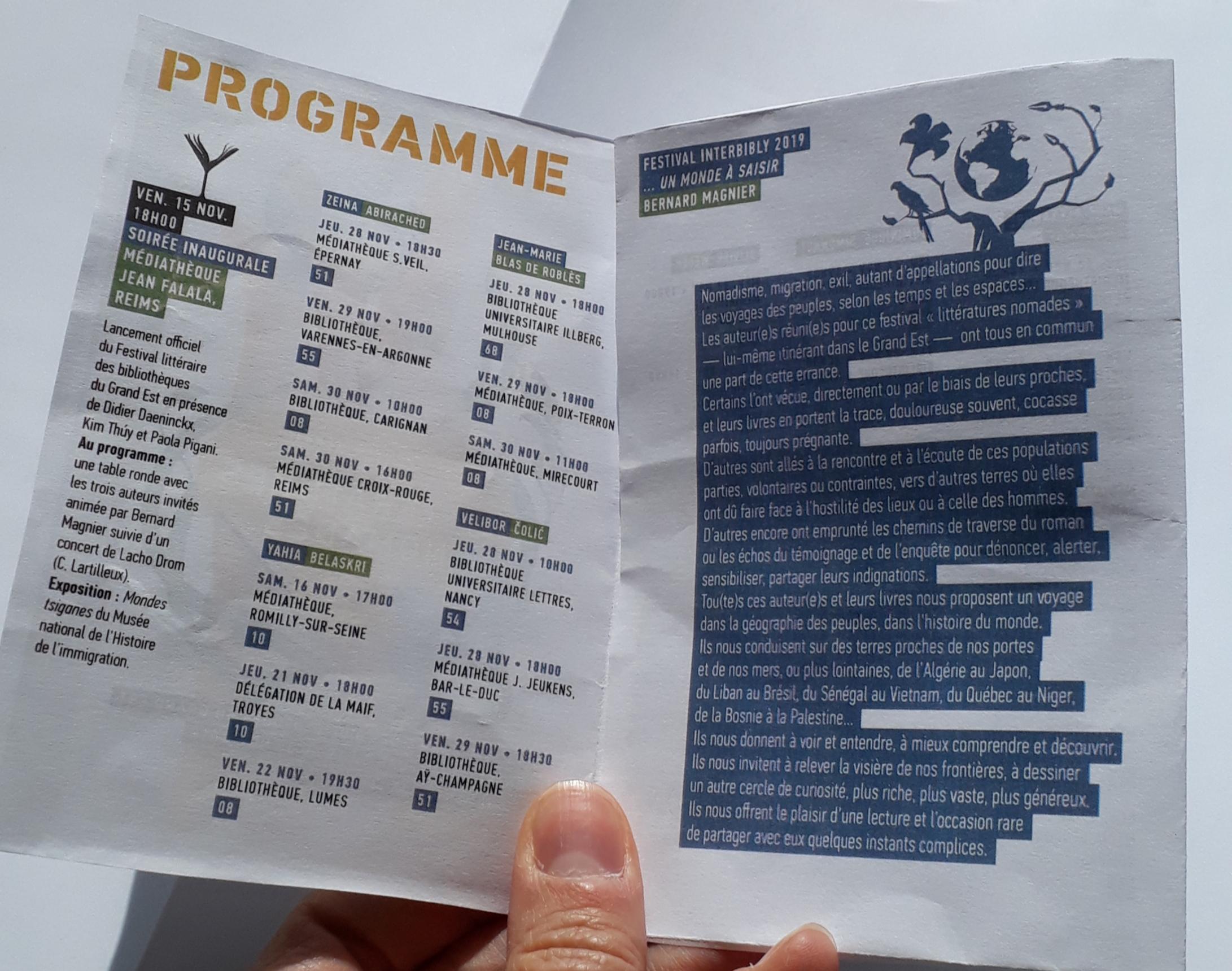 Découvrez le programme du Festival Littératures nomades